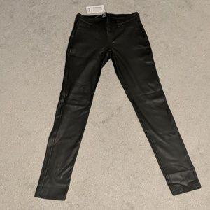 Coated Twill Leggings - Straight Leg